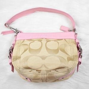 Coach Mini Purse Pink Leather and Beige Jacquard